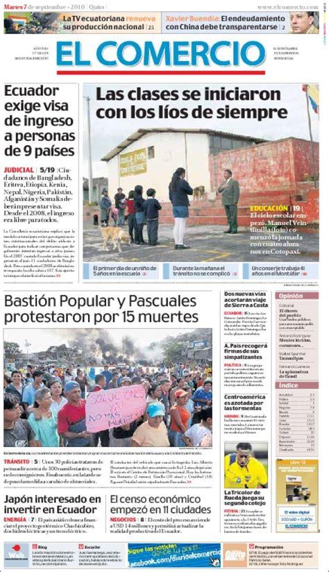 Portada del periódico El Comercio (Ecuador). Todos los ...