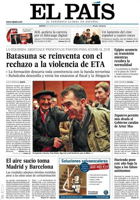 Portada del periódico El País  España . Todos los ...