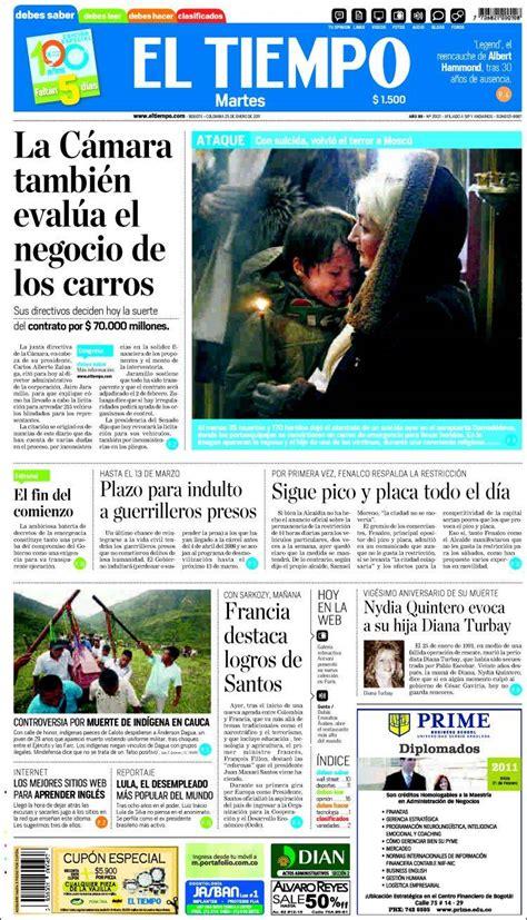 Portada del periódico El Tiempo (Colombia). Todos los ...
