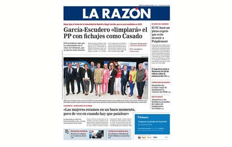 PORTADA DIARIO LA RAZÓN (ESPAÑA) – AGATHA RUIZ DE LA PRADA