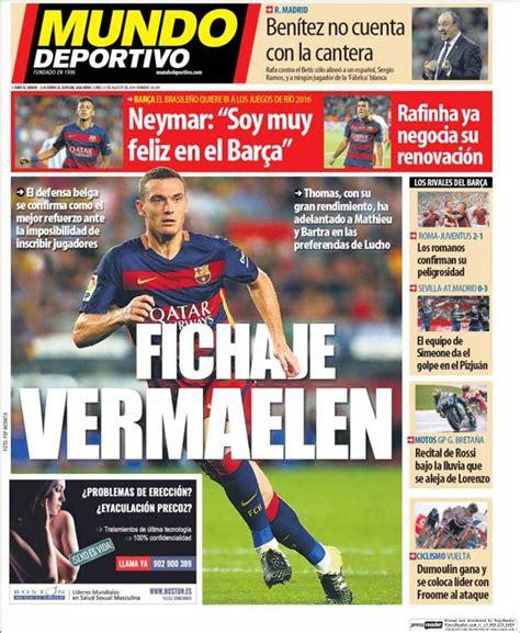 Portada Mundo Deportivo: Fichaje Vermaelen - FC Barcelona ...