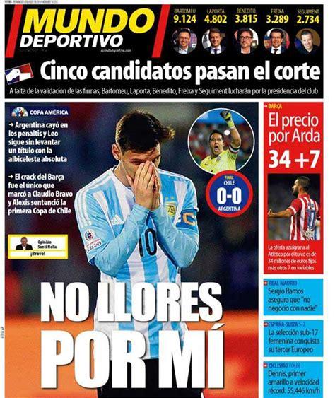 Portada Mundo Deportivo: No llores por mí   FC Barcelona ...
