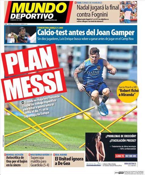 Portada Mundo Deportivo: Plan Messi - FC Barcelona Noticias