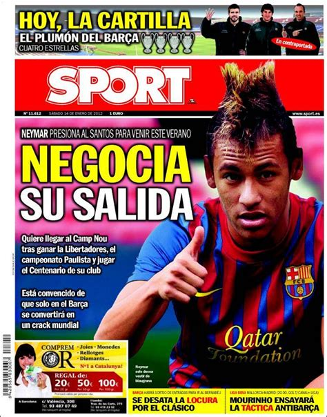 Portada Sport 14/01/2012 | Neymar presiona al Santos para ...