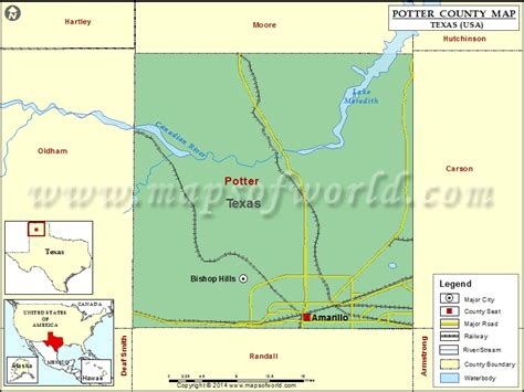 Potter County Map | Map of Potter County, Texas