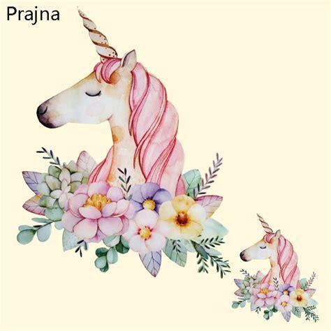 Prajna Unicorn Flower Patches Cartoon Iron On Transfer ...