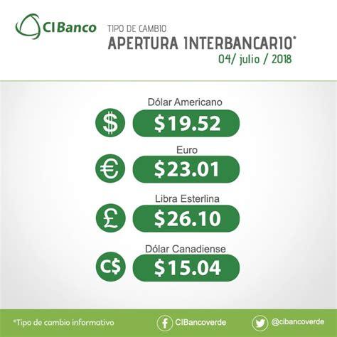 Precio del dólar en ventanilla de CIBanco   Cambio Peso Dolar