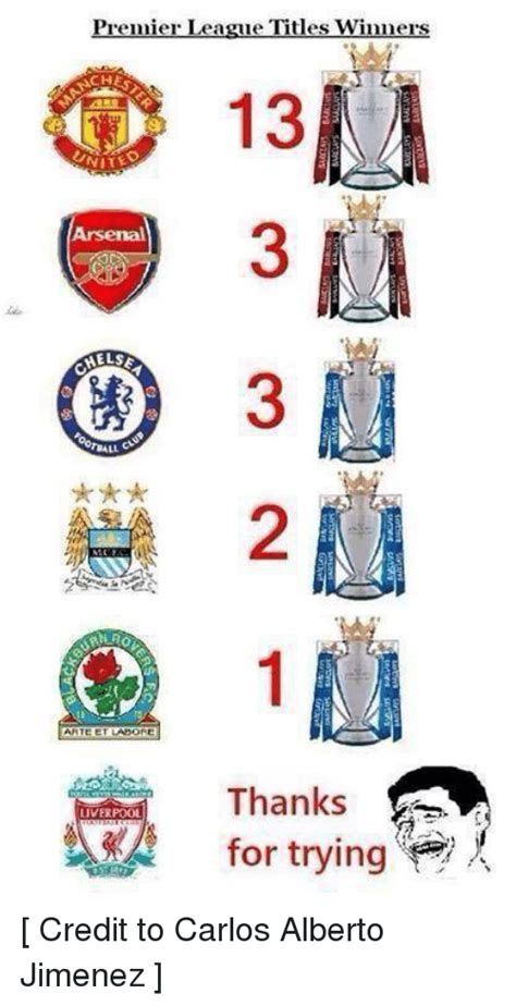 Premier League Titles Winners Arsenal HELSE Thanks VERPOOL ...