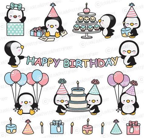 Premium Vector Clipart - Kawaii Birthday Penguins - Cute ...