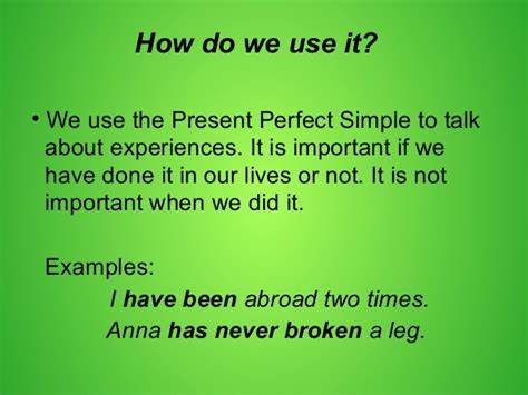 Present perfect simple with since, for, already, yet and ...