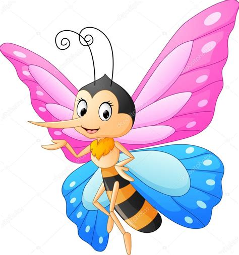 Presentación de dibujos animados Linda mariposa — Vector ...