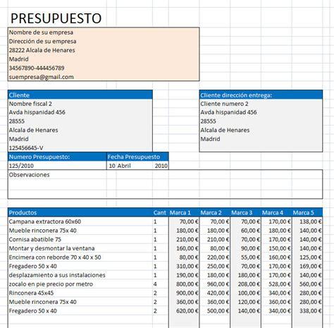 Presupuesto muebles Excel - Opiniones, precios y demo