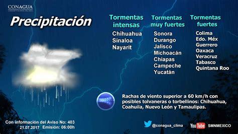 Prevalece pronóstico de lluvias con intervalos de ...