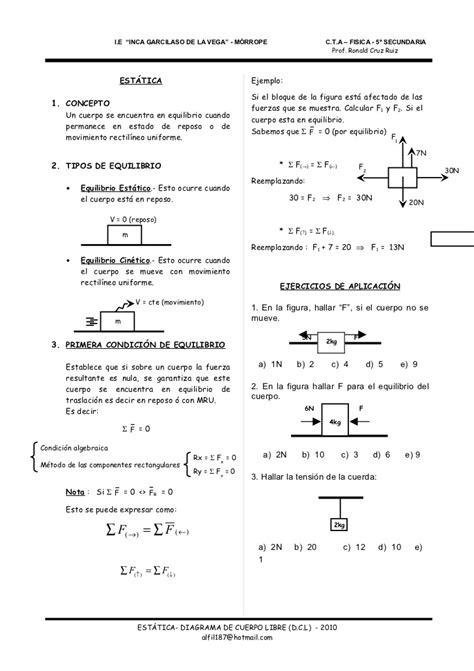 PRIMERA CONDICION DE EQUILIBRIO   ESTÁTICA