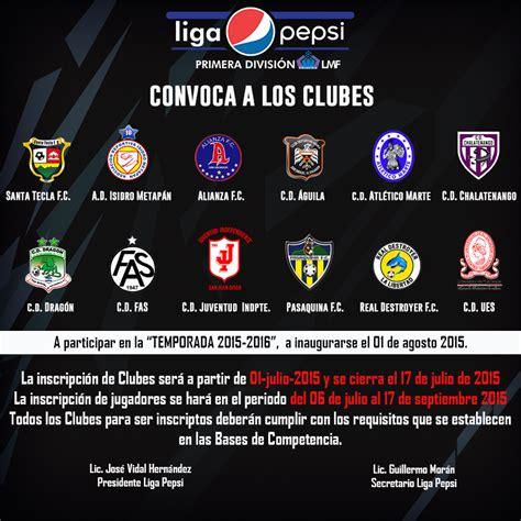 Primera División de Fútbol de El Salvador | Convocatoria ...