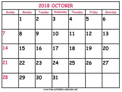 Print Calendar 2018 October