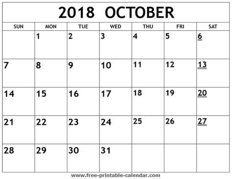 Printable 2018 October Calendar