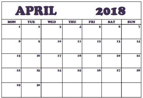 Printable April 2018 Calendar Editable