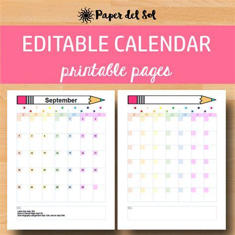 Printable Calendar 2017 2018 Editable Calendar Monthly