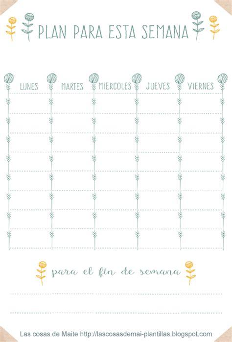 Printable gratis: un plan semana para estar al día   Las ...