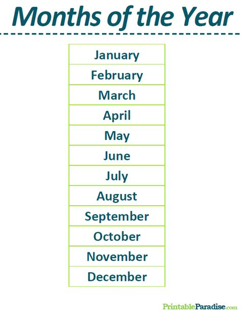 Printable List of the Months of the Year