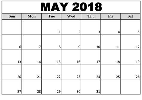 Printable May 2018 Calendar Editable
