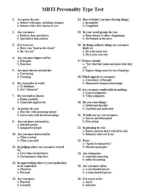 Printable Myers Briggs Personality Test | World of Menu ...