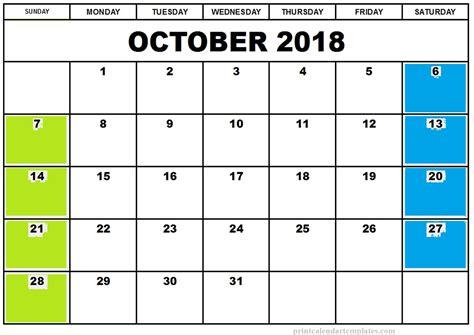 printable october calendar 2018   Romeo.landinez.co