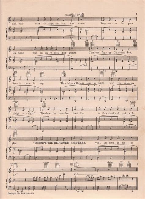 Printable Rudolph Christmas Sheet Music   House of Hawthornes
