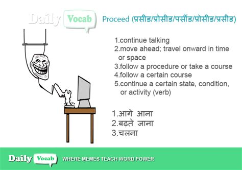 Proceed meaning in Hindi with Picture Dictionary