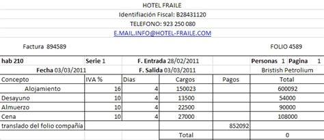 Proceso de Facturación Hotelera: Ejemplo de una factura