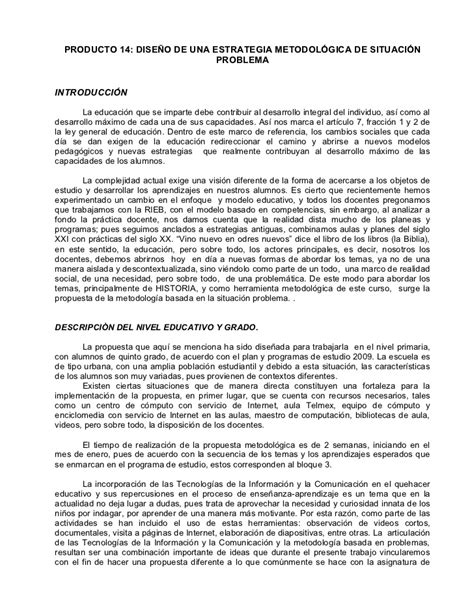 PRODUCTO 14: DISEÑO DE UNA ESTRATEGIA METODOLÓGICA DE ...