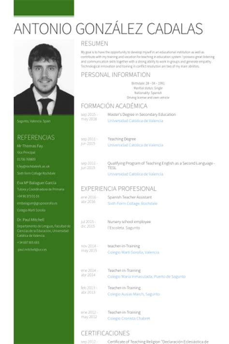 Professeur D'espagnol Des échantillons de CV - VisualCV CV ...