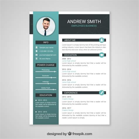 Professional curriculum vitae template Vector | Free Download