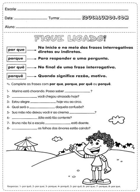 Professores: Atividades de português para o 4° ano