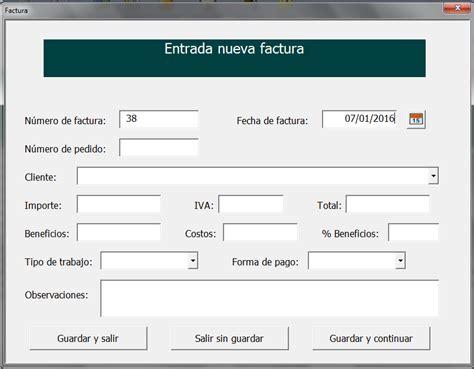 Programa para control de facturas realizado en Excel ...