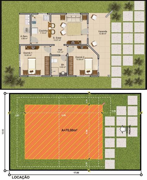 Projetar Casas | Planta de casa térrea com 2 quartos ...