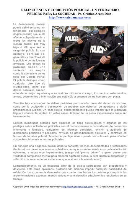PSICOLOGIA FORENSE  DELINCUENCIA Y CORRUPCION POLICIAL ...