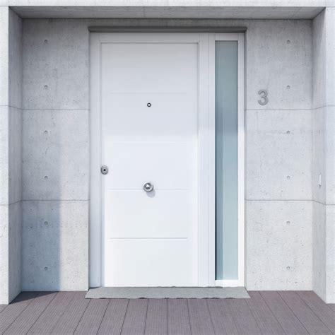 Puerta de entrada metálica Metálica fresada blanca Ref ...