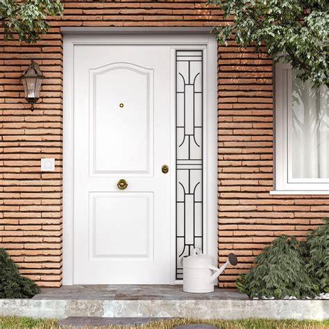 Puerta de entrada metálica Metálica semiprovenzal blanca ...