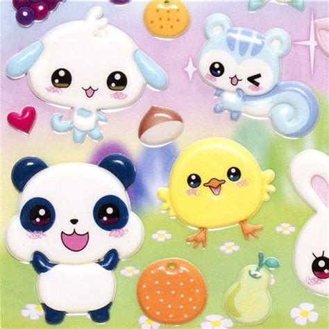 puffy stickers with kawaii animals rabbit cat bear ...