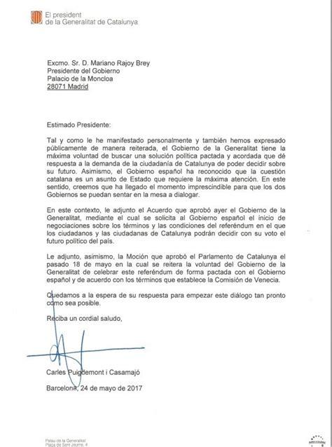 Puigdemont envía una carta a Rajoy para solicitarle