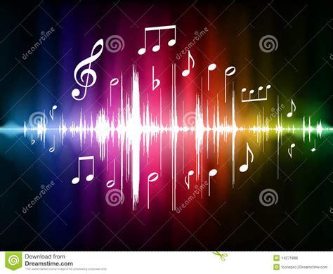 Pulso Del Espectro De Color Con Las Notas Musicales Stock ...