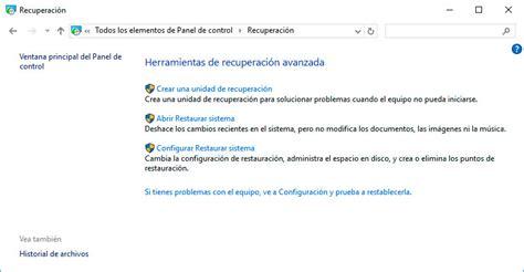 Punto de restauración del sistema en Windows 10