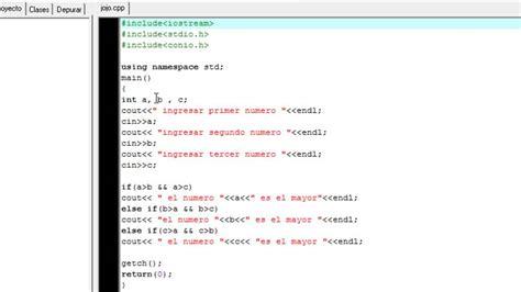 Que numero de tres numeros es mayor? Programa Dev c++ ...