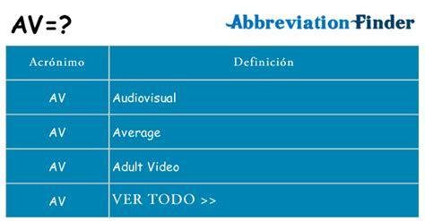 ¿Qué significa AV? -AV definiciones | Abreviatura Finder