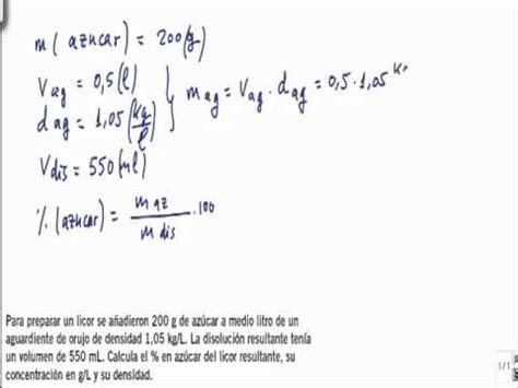 Quimica 1º bachillerato disoluciones ejercicio 1   YouTube