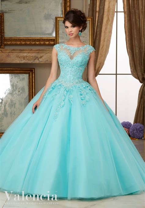 Quinceanera Dress Crystal Beaded Lace Appliques on Tulle ...