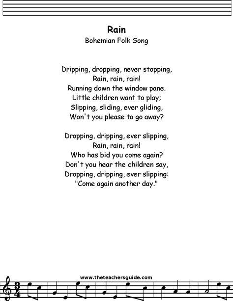 Rain Bohemian Folk Song Lyrics, Printout, MIDI, and Video