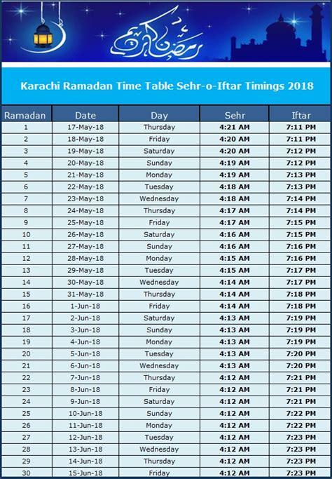 Ramadan Calendar 2018 Pakistan: Sehr o Iftar Timetable ...